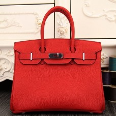 Hermes Birkin 30cm 35cm Bag In Red Clemence Leather