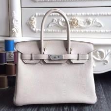 Hermes Birkin 30cm 35cm Bag In White Clemence Leather