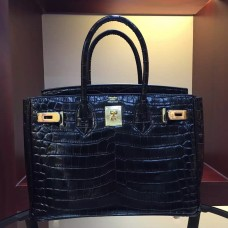 Hermes Birkin 30cm 35cm Bag In Black Crocodile Leather
