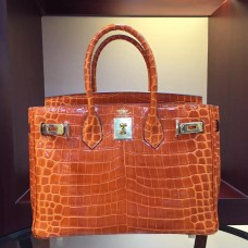Hermes Birkin 30cm 35cm Bag In Orange Crocodile Leather