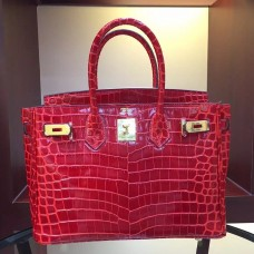 Hermes Birkin 30cm 35cm Bag In Red Crocodile Leather