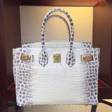 Hermes Birkin 30cm 35cm Bag In White Crocodile Leather