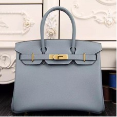 Hermes Birkin 30cm 35cm Bag In Blue Lin Epsom Leather