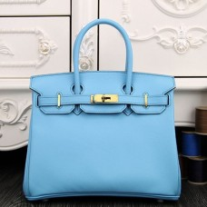 Hermes Birkin 30cm 35cm Bag In Light Blue Epsom Leather
