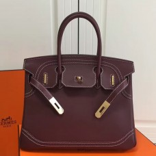 Hermes Birkin Ghillies 30cm In Burgundy Swift Leather