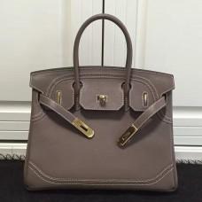 Hermes Birkin Ghillies 30cm In Etoupe Swift Leather