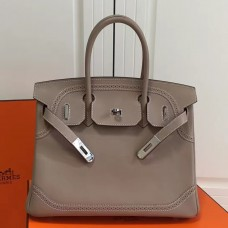Hermes Birkin Ghillies 30cm In Grey Swift Leather