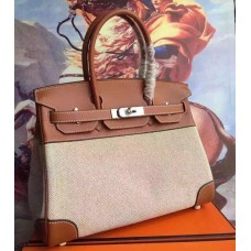 Hermes Canvas Birkin 30cm 35cm Bag With Brown Leather