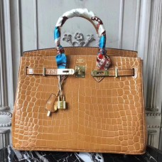 Hermes Birkin 30cm 35cm Bag In Camarel Crocodile Leather
