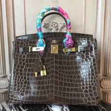 Hermes Birkin 30cm 35cm Bag In Cafe Crocodile Leather