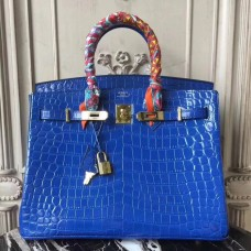 Hermes Birkin 30cm 35cm Bag In Blue Electric Crocodile Leather