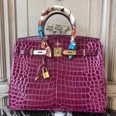 Hermes Birkin 30cm 35cm Bag In Fuchsia Crocodile Leather