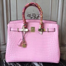 Hermes Birkin 30cm 35cm Bag In Pink Crocodile Leather