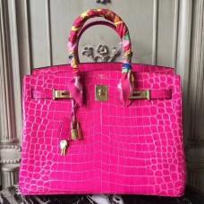 Hermes Birkin 30cm 35cm Bag In Rose Red Crocodile Leather