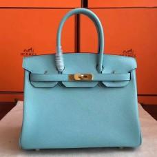 Hermes Blue Atoll Epsom Birkin 30cm Handmade Bag