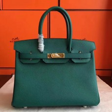 Hermes Malachite Epsom Birkin 30cm Handmade Bag