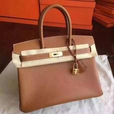 Hermes Gold Epsom Birkin 30cm Handmade Bag