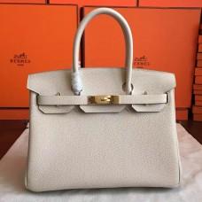 Hermes Beige Clemence Birkin 30cm Handmade Bag