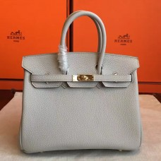 Hermes Pearl Grey Clemence Birkin 30cm Handmade Bag