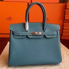 Hermes Blue Jean Epsom Birkin 30cm Handmade Bag