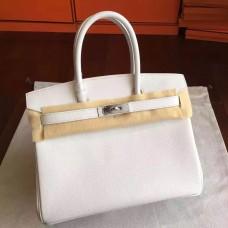 Hermes White Epsom Birkin 30cm Handmade Bag