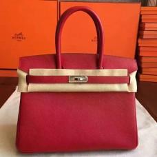 Hermes Red Epsom Birkin 30cm Handmade Bag