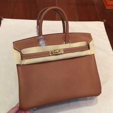 Hermes Brown Clemence Birkin 25cm Handmade Bag