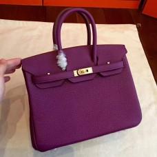 Hermes Cyclamen Clemence Birkin 25cm Handmade Bag
