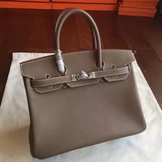 Hermes Etoupe Clemence Birkin 25cm Handmade Bag