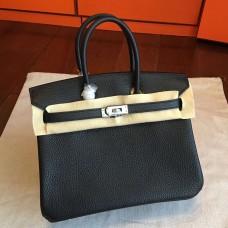 Hermes Black Clemence Birkin 25cm Handmade Bag