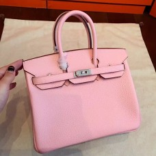 Hermes Pink Clemence Birkin 25cm Handmade Bag