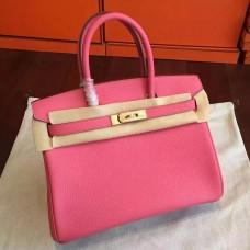 Hermes Rose Lipstick Clemence Birkin 25cm Handmade Bag