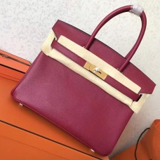 Hermes Ruby Epsom Birkin 30cm Handmade Bag