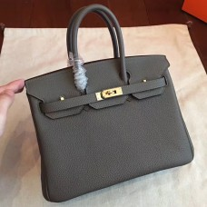 Hermes Vert Gris Clemence Birkin 25cm Handmade Bag