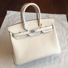 Hermes Beige Epsom Birkin 25cm Handmade Bag