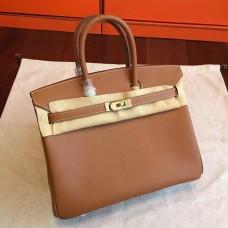 Hermes Brown Epsom Birkin 25cm Handmade Bag