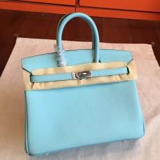Hermes Blue Atoll Epsom Birkin 25cm Handmade Bag