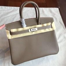 Hermes Etoupe Epsom Birkin 25cm Handmade Bag