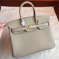 Hermes Grey Epsom Birkin 25cm Handmade Bag