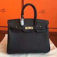 Hermes Black Epsom Birkin 25cm Handmade Bag