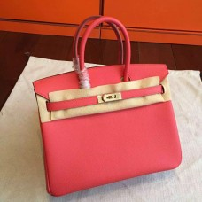 Hermes Rose Red Epsom Birkin 25cm Handmade Bag
