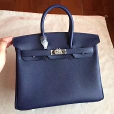 Hermes Sapphire Epsom Birkin 25cm Handmade Bag