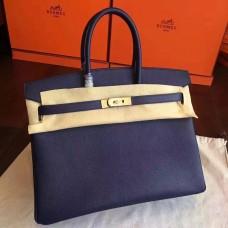 Hermes Sapphire Epsom Birkin 30cm Handmade Bag
