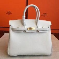 Hermes White Epsom Birkin 25cm Handmade Bag