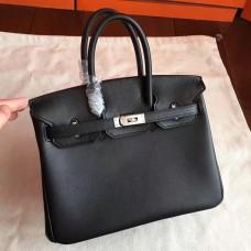 Hermes Black Swift Birkin 25cm Handmade Bag