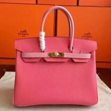 Hermes Rose Lipstick Espom Horseshoe Brikin 30cm Handmade Bag