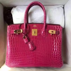 Hermes Rose Red Birkin 30cm Crocodile Niloticus Shiny Bag