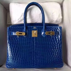 Hermes Blue Electric Birkin 30cm Crocodile Niloticus Shiny Bag