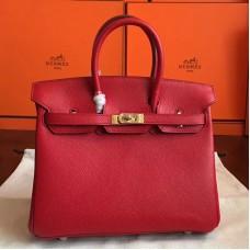 Hermes Red Epsom Birkin 25cm Handmade Bag