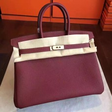 Hermes Bordeaux Clemence Birkin 35cm Handmade Bag